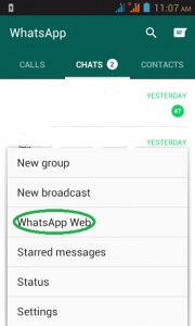 go to WhatsApp web in menu