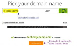 pick your domain name with godaddy