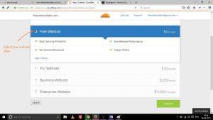 choose CloudFlare free plan