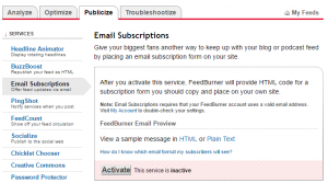click on activate feed via email subscriptions