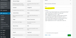 go to widget in appearance in the WordPress Admin dashboard