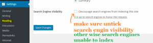 make sure untick at search engine visibility
