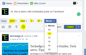 schedule posts directly from your time line by click on clock symbal