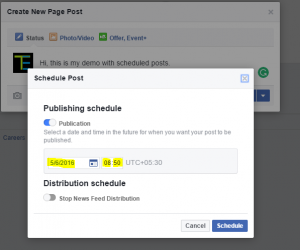 select date and time and click on schedule