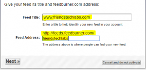 select feed title and feed address