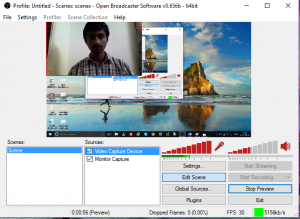 adjust webcam window to record monitor