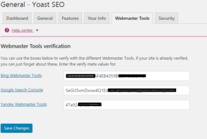verify ownership with different webmasters like google, bing and yandex in seo by yoast