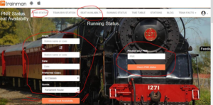 Trainman PNR status booking